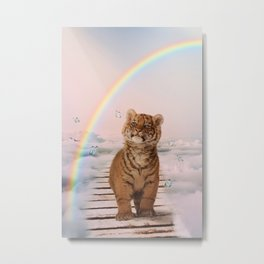 A tiger on the Rainbow Bridge Metal Print