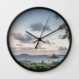 Chinamans Hat at Dusk on the island of Oahu, Hawaii Wall Clock