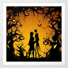Romantic Halloween Jack & Sally Art Print