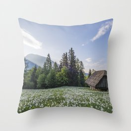 Spring by the Cottage in the Mountains Throw Pillow