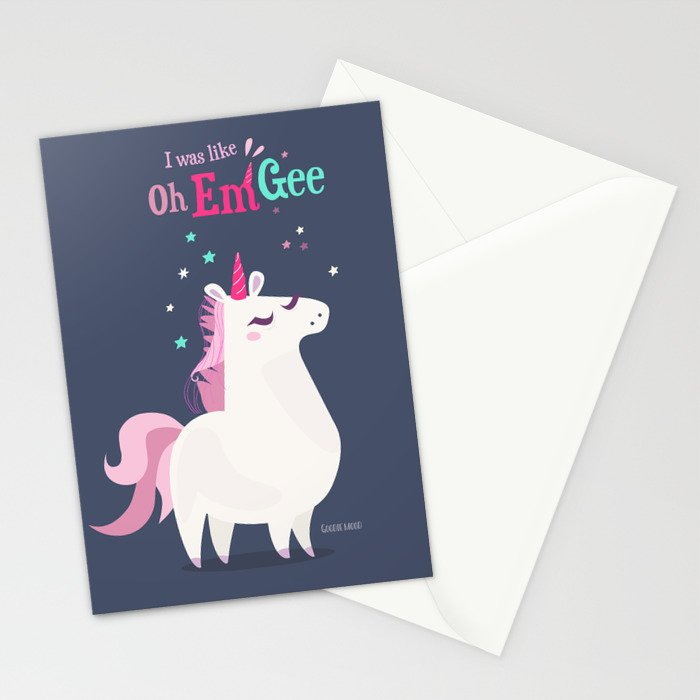 I was like Oh Em Gee - Unicorn Stationery Cards