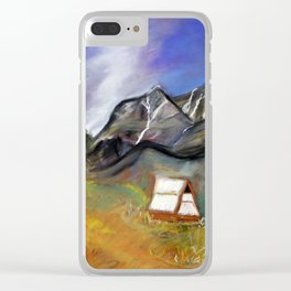 stormy sky above the mountains Clear iPhone Case