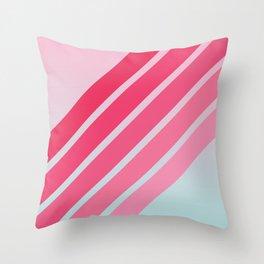 Pink Hip Retro Stripes Throw Pillow