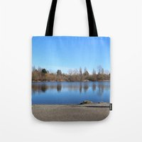 trout Tote Bags featuring Trout Lake by RMK Creative