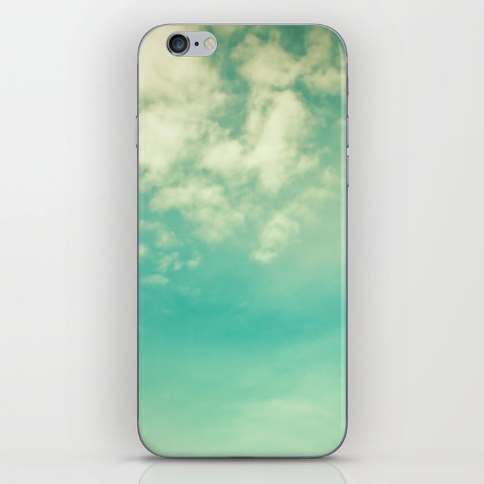 Retro Vintage Blue Turquoise Fall Sky and Clouds iPhone Skin
