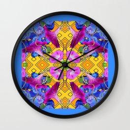 Blue  Patterns Morning Glories & Gold Wall Clock