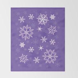 snowflakes on the blue Throw Blanket