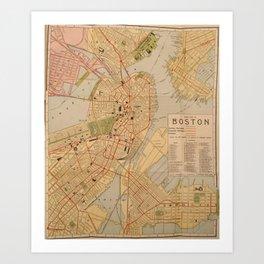 Vintage Map of Boston MA (1902) Art Print