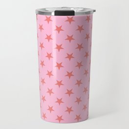 Coral Pink on Cotton Candy Pink Stars Travel Mug