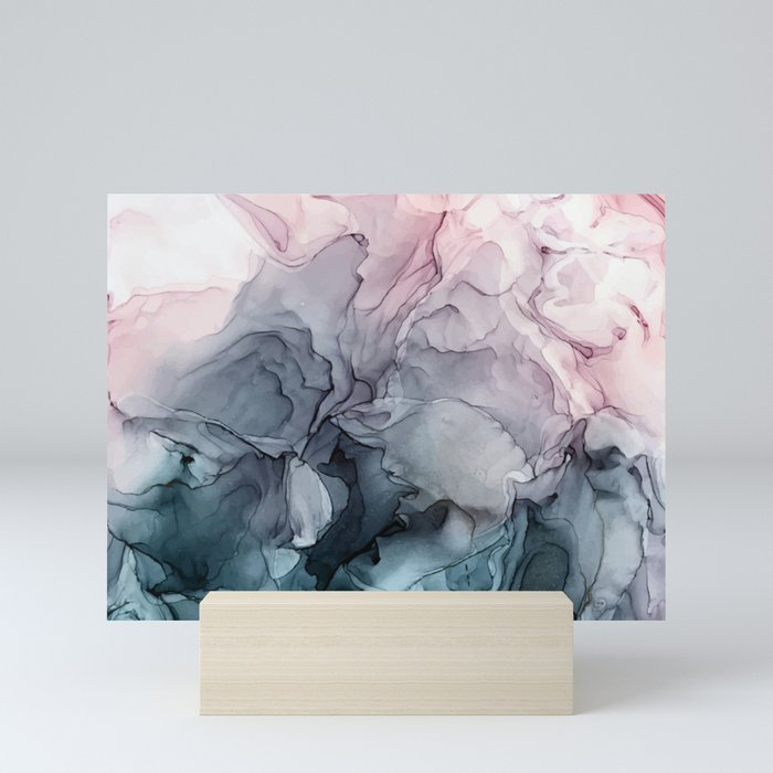 Blush and Payne's Grey Flowing Abstract Painting Mini Art Print