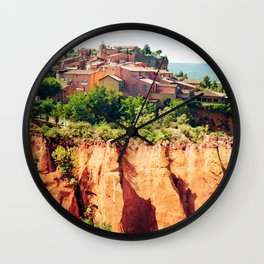 Roussillon famous for its ochre hills, Provence, France Wall Clock