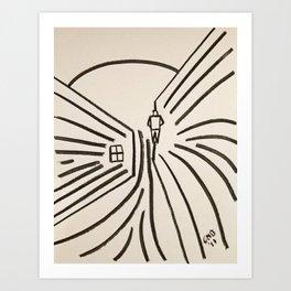 Study of a Man Walking Into the Sun Art Print