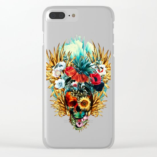 Floral Skull Vivid Clear iPhone Case