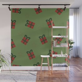 Gifts and stars - green and red Wall Mural