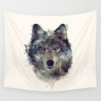 wildlife Wall Tapestries featuring Wolf // Persevere  by Amy Hamilton