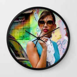 Woman and graffitti Wall Clock