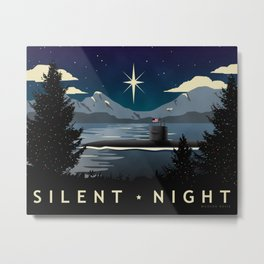 Silent Night - Submarine Christmas Metal Print