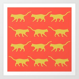 Orange background and yellow cat pattern Art Print