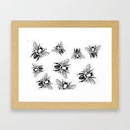 More Black Bees Pattern Vintage Handdrawn Framed Art Print