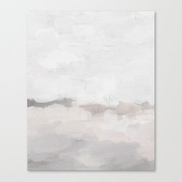 Neutral White Beige Gray Sandy Beach Ocean Gray Clouds Abstract Nature Painting Art Print Wall Decor  Canvas Print