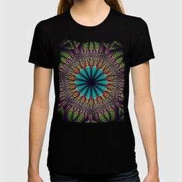 Tropical fantasy flower and leaves, fractal abstract T-shirt
