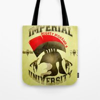 skyrim Tote Bags featuring Imperial University(Skyrim) by Chubbybuddhist