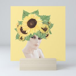Sunflower head / Mannequin collage Mini Art Print