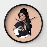 amy hamilton Wall Clocks featuring Amy  by Anna McKay