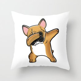 Funny Fawn French Bulldog Dabbing Throw Pillow