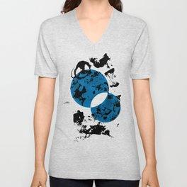 Blue & Black Unisex V-Neck