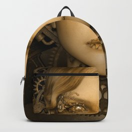 Steampunk female machine Backpack