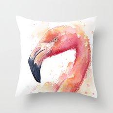 Flamingo Watercolor Pink Bird Tropical Animal Throw Pillow