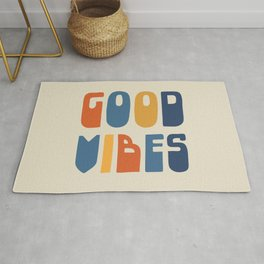 Good Vibes Positive Retro Typography in Blue, Orange, and Mustard on Light Beige Rug