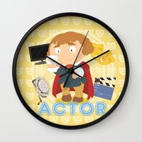 actor Wall Clocks featuring Actor by Alapapaju