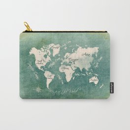 world map 151 green white #worldmap #map Carry-All Pouch