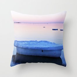 Ice Raft at Dusk on Calm Seas Throw Pillow