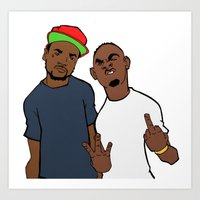 kendrick lamar Art Prints featuring Scohoolboy q Kendrick Lamar by Micheal Austin (The failedartist)