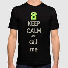 Keep Calm Call LARGE Mens Fitted Tee Black
