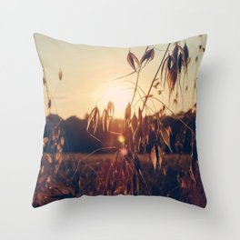Golden Hour at the Field - Sunset and Landscape Photography in Southern France Throw Pillow