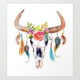 Floral and Feathers Adorned Bull Skull Art Print