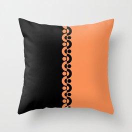 Orange & Black  / Two Tone Modern Throw Pillow