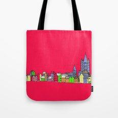 Sketchy Town in pink Tote Bag