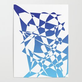 geometrical abstract blue shapes Poster
