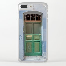 Wood green door in a medieval town Clear iPhone Case
