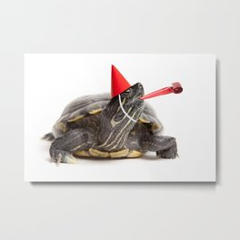 Party Turtle Metal Print