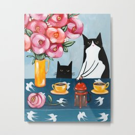 Cats and French Press Coffee Metal Print