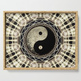 Yin Yang Geometry Mandala V1 Serving Tray