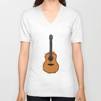 guitar V-neck T-shirts featuring Guitar by elyinspira