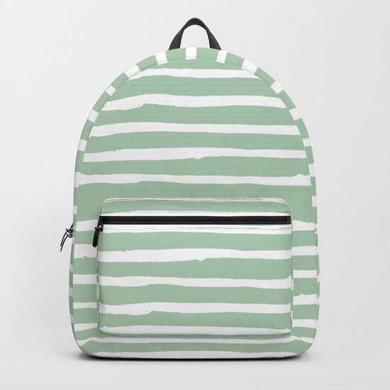 Elegant Stripes Pastel Cactus Green and White Backpack