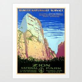 Vintage Zion National Park Travel Art Print